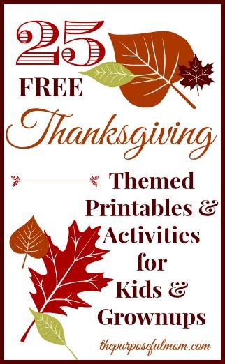 25 Free Thanksgiving Themed Printables