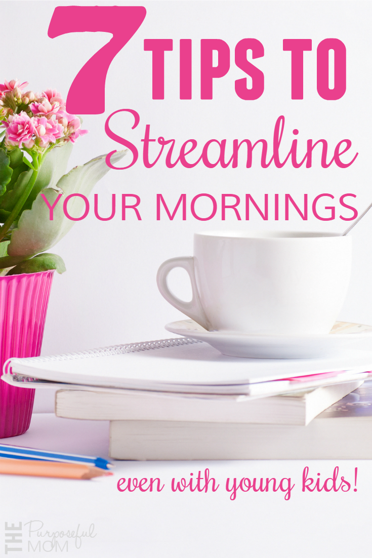 Are you tired of having unproductive mornings that leave you wishing you could go back to bed? Check out my 7 tips to streamline your mornings (even if you have young kids)! Real advice that can help you get more organized so you can get your day off to a great start!