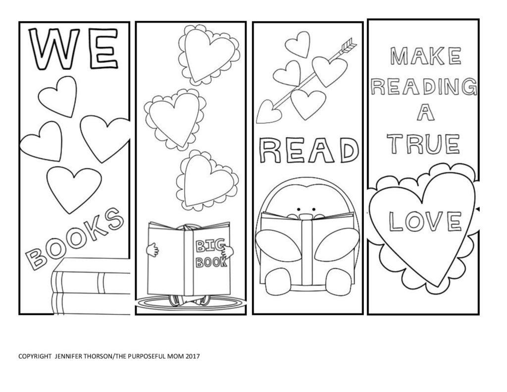 Valentine bookmark to color - Free Valentine S Bookmarks