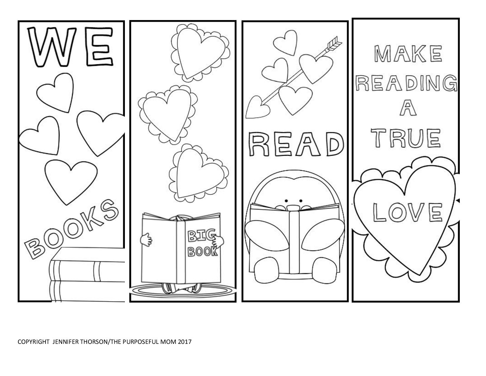 Free valentine 39 s day bookmarks to color the purposeful mom Printable coloring bookmarks